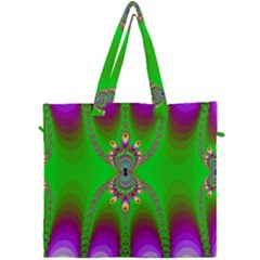 Green And Purple Fractal Canvas Travel Bag