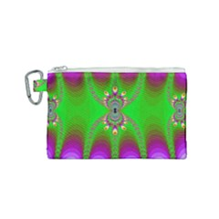 Green And Purple Fractal Canvas Cosmetic Bag (small)