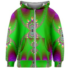 Green And Purple Fractal Kids Zipper Hoodie Without Drawstring