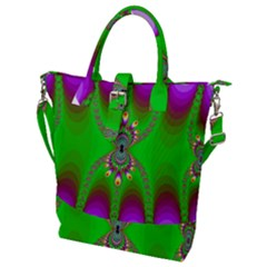 Green And Purple Fractal Buckle Top Tote Bag