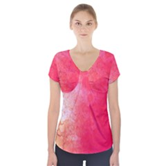 Abstract Red And Gold Ink Blot Gradient Short Sleeve Front Detail Top