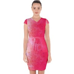 Abstract Red And Gold Ink Blot Gradient Capsleeve Drawstring Dress