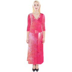 Abstract Red And Gold Ink Blot Gradient Quarter Sleeve Wrap Maxi Dress