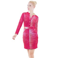 Abstract Red And Gold Ink Blot Gradient Button Long Sleeve Dress