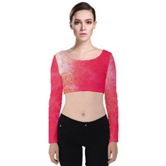 Abstract Red And Gold Ink Blot Gradient Velvet Long Sleeve Crop Top