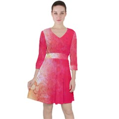 Abstract Red And Gold Ink Blot Gradient Ruffle Dress