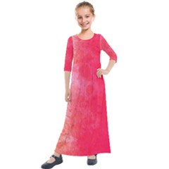 Abstract Red And Gold Ink Blot Gradient Kids  Quarter Sleeve Maxi Dress by Jojostore