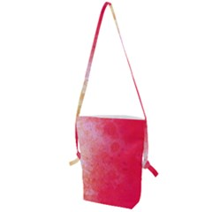 Abstract Red And Gold Ink Blot Gradient Folding Shoulder Bag