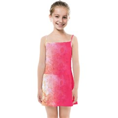 Abstract Red And Gold Ink Blot Gradient Kids Summer Sun Dress by Jojostore