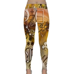 Symbols On Gradient Background Embossed Classic Yoga Leggings by Jojostore