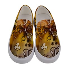 Symbols On Gradient Background Embossed Women s Canvas Slip Ons