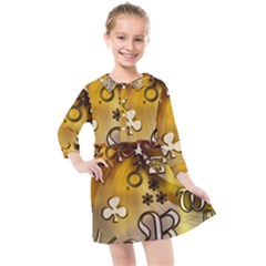 Symbols On Gradient Background Embossed Kids  Quarter Sleeve Shirt Dress