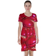 Red Abstract Cherry Balls Pattern Short Sleeve Nightdress
