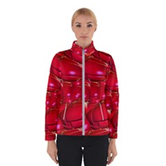 Red Abstract Cherry Balls Pattern Winter Jacket