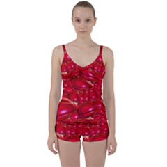 Red Abstract Cherry Balls Pattern Tie Front Two Piece Tankini