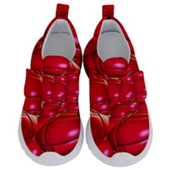 Red Abstract Cherry Balls Pattern Velcro Strap Shoes