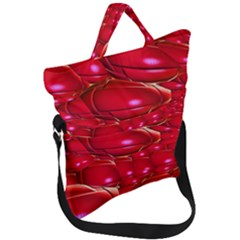 Red Abstract Cherry Balls Pattern Fold Over Handle Tote Bag by Jojostore