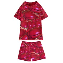 Red Abstract Cherry Balls Pattern Kids  Swim Tee And Shorts Set