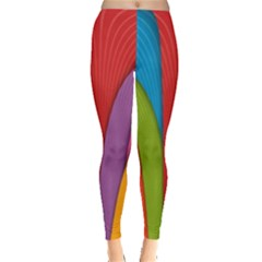 Modern Abstract Colorful Stripes Wallpaper Background Leggings