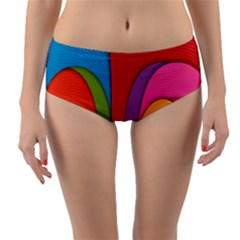Modern Abstract Colorful Stripes Wallpaper Background Reversible Mid Waist Bikini Bottoms by Jojostore