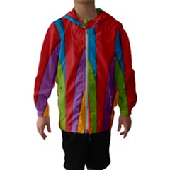 Modern Abstract Colorful Stripes Wallpaper Background Hooded Windbreaker (kids)