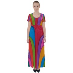 Modern Abstract Colorful Stripes Wallpaper Background High Waist Short Sleeve Maxi Dress