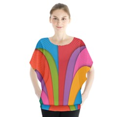 Modern Abstract Colorful Stripes Wallpaper Background Batwing Chiffon Blouse