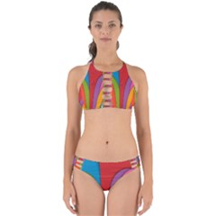 Modern Abstract Colorful Stripes Wallpaper Background Perfectly Cut Out Bikini Set