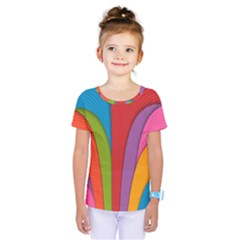 Modern Abstract Colorful Stripes Wallpaper Background Kids  One Piece Tee