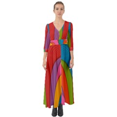 Modern Abstract Colorful Stripes Wallpaper Background Button Up Boho Maxi Dress