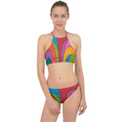 Modern Abstract Colorful Stripes Wallpaper Background Racer Front Bikini Set