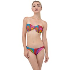 Modern Abstract Colorful Stripes Wallpaper Background Classic Bandeau Bikini Set