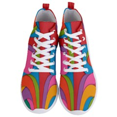 Modern Abstract Colorful Stripes Wallpaper Background Men s Lightweight High Top Sneakers