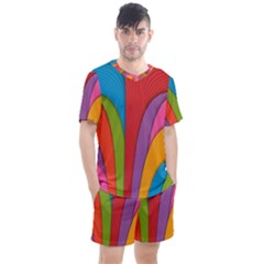 Modern Abstract Colorful Stripes Wallpaper Background Men s Mesh Tee And Shorts Set by Jojostore