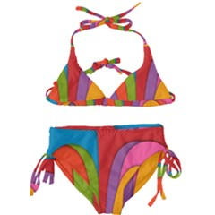 Modern Abstract Colorful Stripes Wallpaper Background Kids  Classic Bikini Set