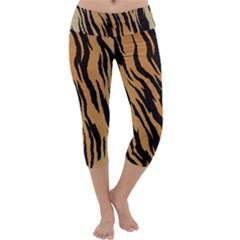 Tiger Animal Print A Completely Seamless Tile Able Background Design Pattern Capri Yoga Leggings