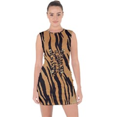 Tiger Animal Print A Completely Seamless Tile Able Background Design Pattern Lace Up Front Bodycon Dress