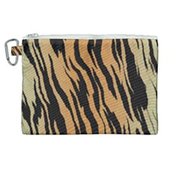 Tiger Animal Print A Completely Seamless Tile Able Background Design Pattern Canvas Cosmetic Bag (xl)