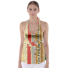 Digitally Created Collage Pattern Made Up Of Patterned Stripes Babydoll Tankini Top