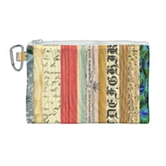 Digitally Created Collage Pattern Made Up Of Patterned Stripes Canvas Cosmetic Bag (large) by Jojostore