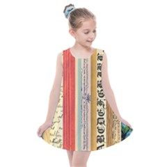 Digitally Created Collage Pattern Made Up Of Patterned Stripes Kids  Summer Dress