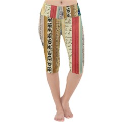 Digitally Created Collage Pattern Made Up Of Patterned Stripes Lightweight Velour Cropped Yoga Leggings