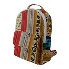 Digitally Created Collage Pattern Made Up Of Patterned Stripes Flap Pocket Backpack (large) by Jojostore