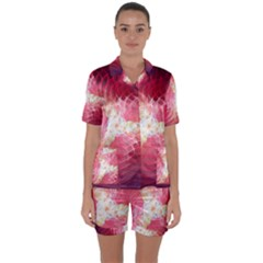 Fractal Red Sample Abstract Pattern Background Satin Short Sleeve Pyjamas Set