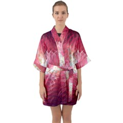 Fractal Red Sample Abstract Pattern Background Quarter Sleeve Kimono Robe