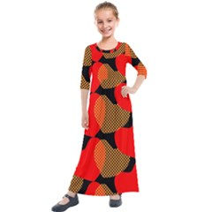 Heart Pattern Kids  Quarter Sleeve Maxi Dress by Jojostore