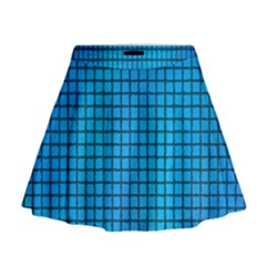 Seamless Blue Tiles Pattern Mini Flare Skirt