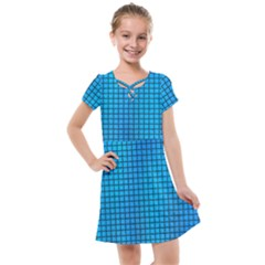 Seamless Blue Tiles Pattern Kids  Cross Web Dress