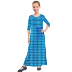 Seamless Blue Tiles Pattern Kids  Quarter Sleeve Maxi Dress by Jojostore