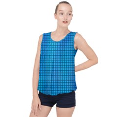 Seamless Blue Tiles Pattern Bubble Hem Chiffon Tank Top